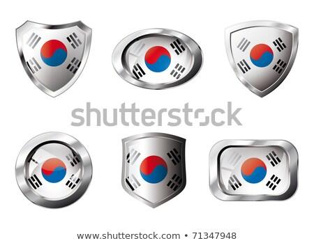 Praça metal botão bandeira Coréia do Sul isolado Foto stock © MikhailMishchenko