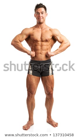 Attractive male body builder on white background Stock photo © master1305