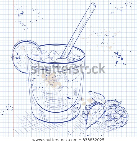 Cocktail Bramble on a notebook page Stock photo © netkov1