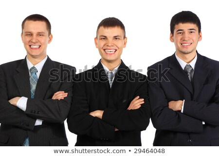 three laughing businessmen with croosed hands stock photo © paha_l