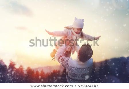 inverno · voar · criança · pai · sorrir · homem - foto stock © Paha_L