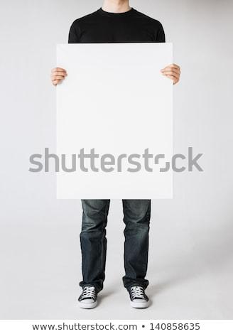férfi · kéz · mutat · tábla · nő · lány - stock fotó © Patramansky