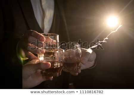 Tres gafas whisky rocas vidrio fondo Foto stock © alex_l