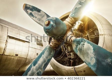 Klasszikus kék repülőgép illusztráció fehér légy Stock fotó © bluering