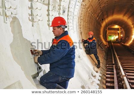 Bouwplaats ondergrondse gebouw industrie zwarte baan Stockfoto © zurijeta