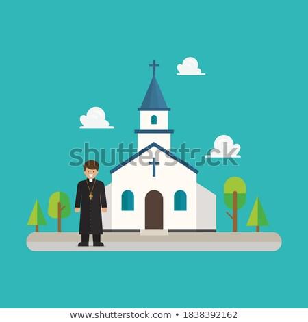 szerzetes · pap · kereszt · kápolna · 3D · renderelt · kép - stock fotó © ankarb