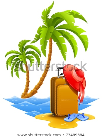 Stock photo: female travel suitcase with bonnet and slippers