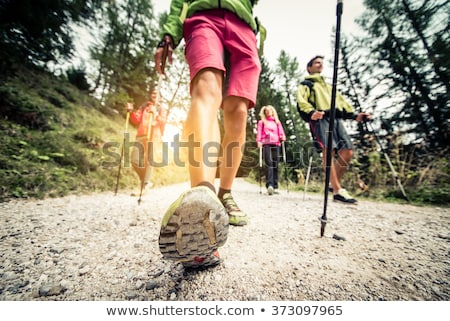 Nordic walking in mountains Stock photo © blasbike