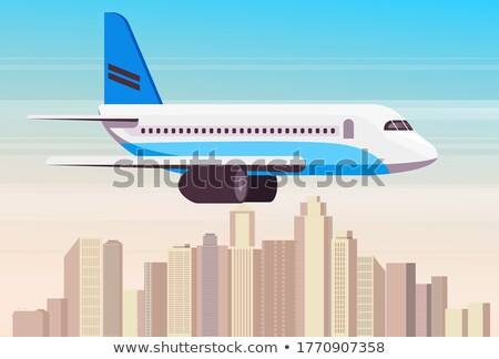 Airplane above the Cityscape. vector Stock photo © Andrei_