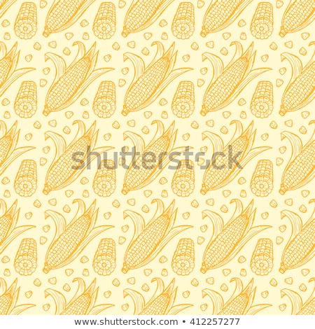 Corn seamless pattern. Maize endless background, texture. Vegetable backdrop. Vector illustration. Stock photo © lucia_fox