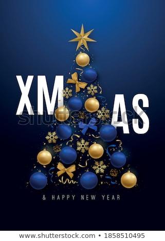 Kerstboom Blauw banner witte sneeuw behang Stockfoto © Genestro