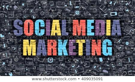 Stock photo: Social Media Marketing Concept. Multicolor on Dark Brickwall.