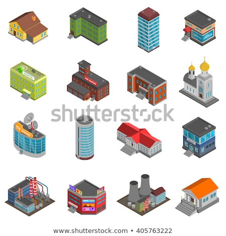 Courthouse building isometric 3D elements Stock photo © studioworkstock
