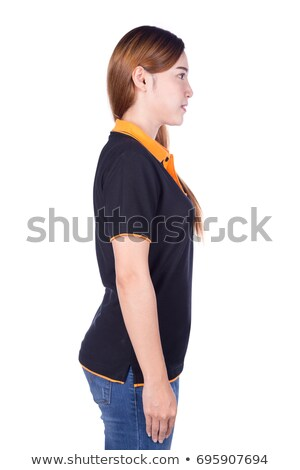 Side view of young pretty chinese woman in black tshirt and jean Stock photo © deandrobot