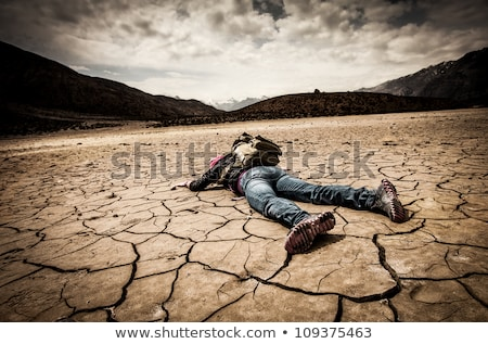 Nő elveszett sivatag fájdalom horizont ül Stock fotó © IS2
