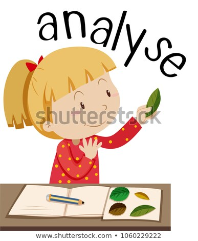 Flashcard for word analyse with girl looking at leaves Stock photo © bluering