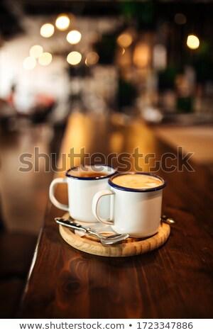 Kávéscsésze krémes fa asztal üzlet étterem tej Stock fotó © wavebreak_media