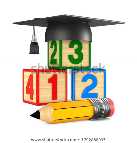 block with number and pencil on white background. Isolated 3D il Stock photo © ISerg