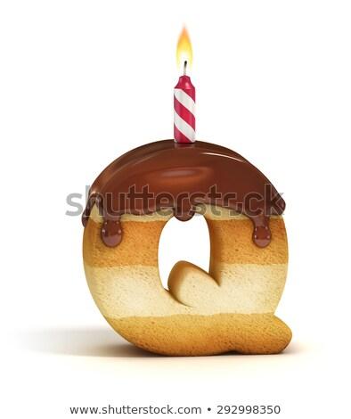 рождения · традиция · Cute · девушки · глядя · именинный · торт - Сток-фото © popaukropa