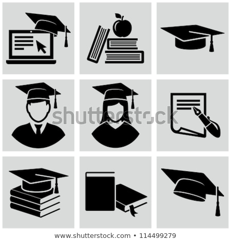 Books and Students Cap Set Vector Illustration Stock photo © robuart