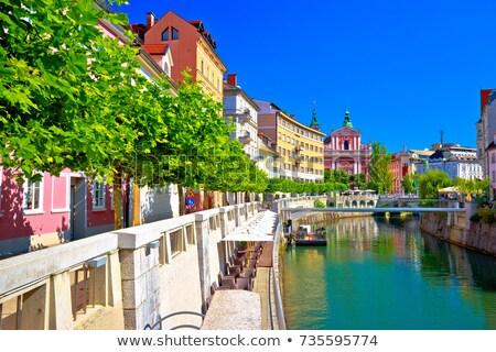 Rio Eslovenia ver edifício cidade rua Foto stock © boggy
