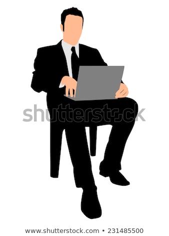 nyugodt · elegáns · férfi · szék · kezek · faszék - stock fotó © feedough