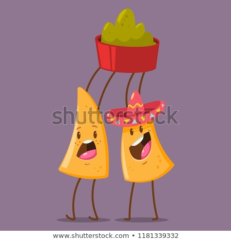 Cartoon avocado sombrero illustratie glimlachend Stockfoto © cthoman