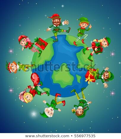 Toprak Noel gece örnek dünya çocuklar Stok fotoğraf © colematt