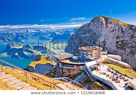 Jezioro widoku alpejski krajobraz banderą Zdjęcia stock © xbrchx
