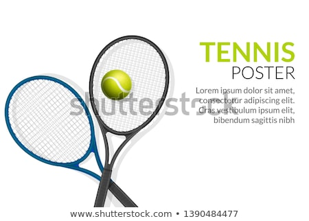 Tennisbal racket poster illustratie tekst tennis Stockfoto © hittoon