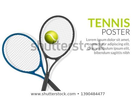 Teniszlabda ütő poszter illusztráció szöveg tenisz Stock fotó © hittoon
