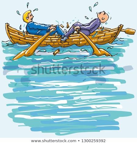 Twee mannen roeien ander roeiboot water boot Stockfoto © Ustofre9