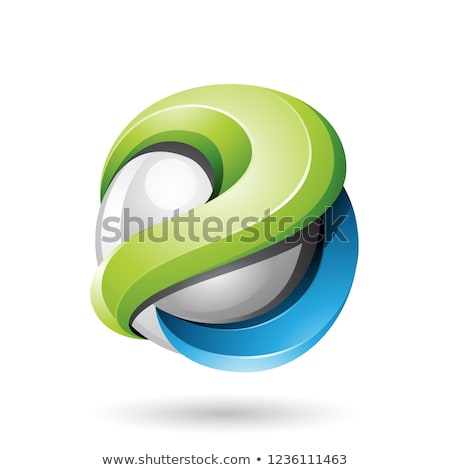 blue and green bold metallic glossy 3d sphere vector illustratio stock photo © cidepix