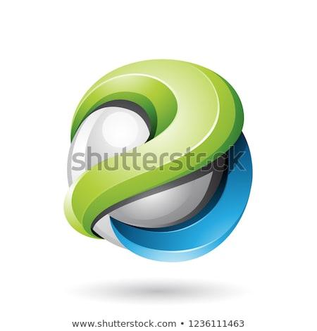 Kék zöld fémes fényes 3D gömb Stock fotó © cidepix