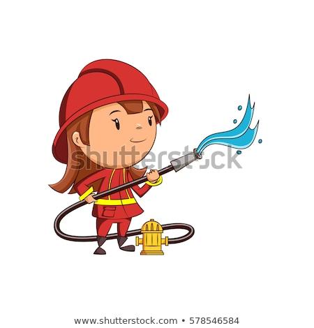 Cartoon Smiling Firefighter Girl Stock photo © cthoman