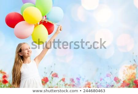 幸せな女の子 · カラフル · 風船 · パーティ · 子 · 青 - ストックフォト © dolgachov