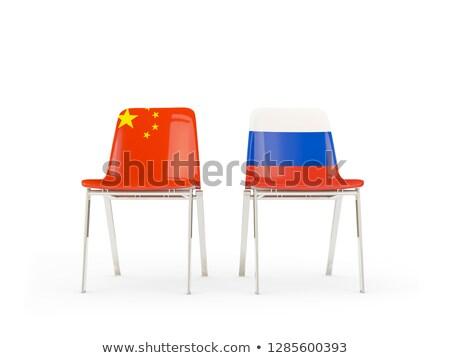 Due sedie bandiere Cina Russia isolato Foto d'archivio © MikhailMishchenko