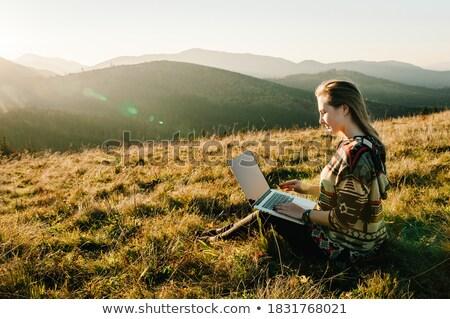 kadın · dizüstü · bilgisayar · kullanıyorsanız · açık · havada · yaz · bilgisayar - stok fotoğraf © monkey_business
