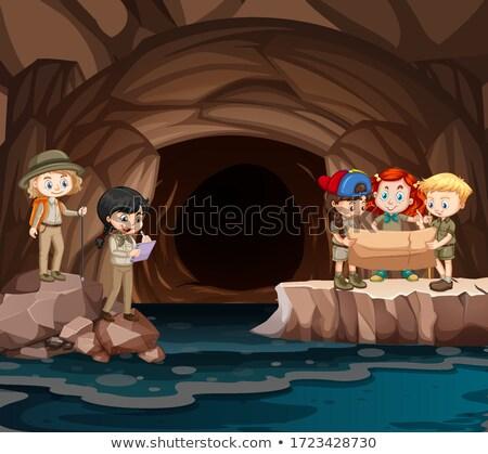 feliz · crianças · caverna · ilustração · criança · paisagem - foto stock © bluering