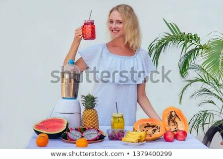 Diéta egészséges étkezés nő iszik friss nyers Stock fotó © galitskaya