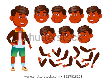 Indian Boy, Child, Kid, Teen Vector. Cheerful Pupil. Face Emotions, Various Gestures. Animation Crea Stock photo © pikepicture