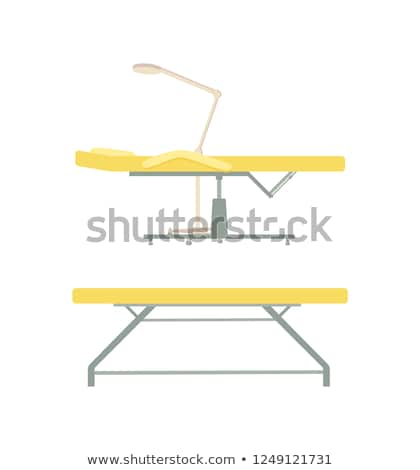 Stock photo: Massage Table and Furniture with Lamp Set Vector