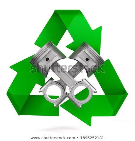 Two engine pistons and symbol recycled on white background. Isol Stock photo © ISerg