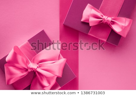 Pink gift boxes, feminine style flatlay background Stock photo © Anneleven