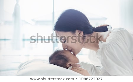 Happy Mothers Day banner of mother kissing son Stock photo © cienpies