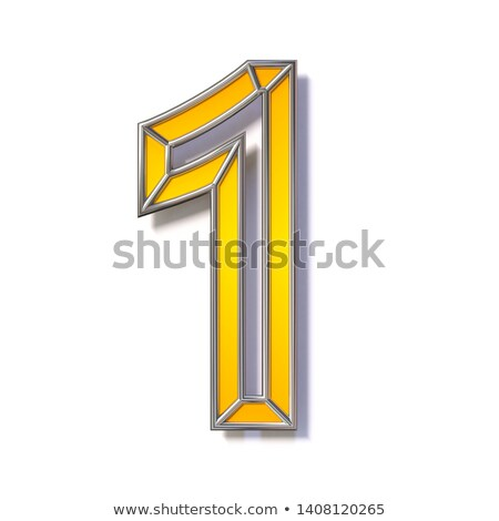 Orange metal wire font Number 1 ONE 3D Stock photo © djmilic
