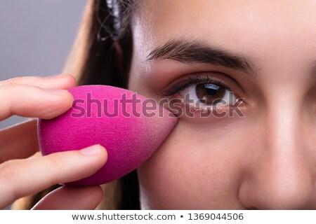 Nő szivacs robotgép arc csinos nő rózsaszín Stock fotó © AndreyPopov