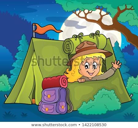 Escoteiro menina tenda feliz arte noite Foto stock © clairev