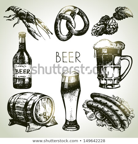 Hand Drawn Classic Glass Bottle Of Beer Vector Stock photo © pikepicture