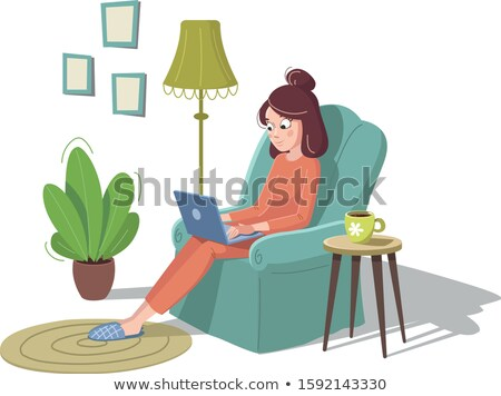 Woman Sitting on Carpet Isolated Cartoon Character Stock photo © robuart